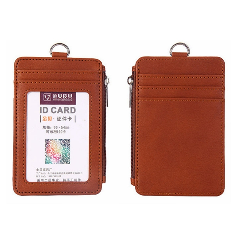 Portable Retractable Badge Lanyard Work Name Business Card Cover Women Men Bank Credit Card Holder PU Bus ID Card Pocket Wallet