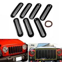 Mesh Cover Grille Trim Clip-in Front Insert For 2007-2017 Jeep Wrangler Matte Black Front JK 7PCS CAR011 dot mesh insert crochet trim shirt
