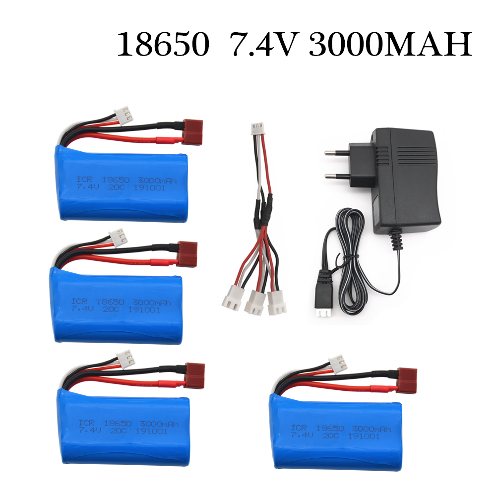 <font><b>7.4V</b></font> <font><b>3000MAH</b></font> <font><b>lipo</b></font> <font><b>Battery</b></font> 18650 for Q46 Wltoys 10428 /12428/12423 RC Car Spare Parts Accessories image