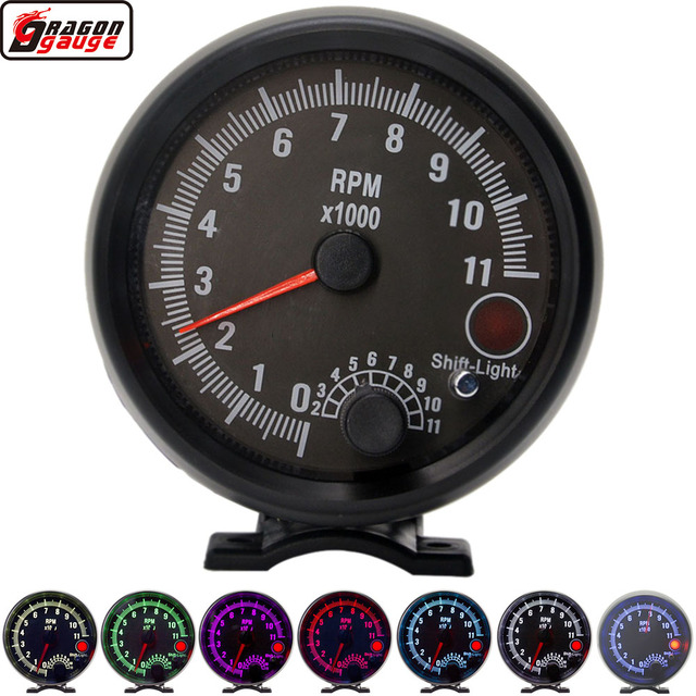 Dragon 3.75 Inch Racing Car Tachometer Gauge 7 LED Colors 0 11000 Rpm For 1/2/3/4/5/6/7/8 Cylinder Black Shell And Face Meter