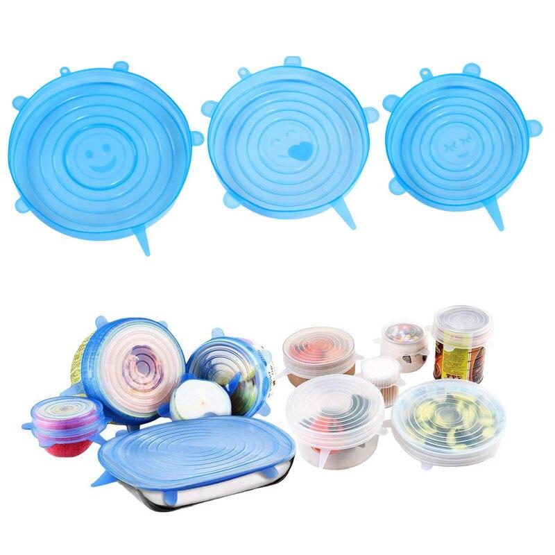 Tapas elásticas reutilizables de silicona de 3 uds., tapas para comida, tapas para platos de frutas, tapas para sellar alimentos, tapas de silicona para mantenimiento fresco