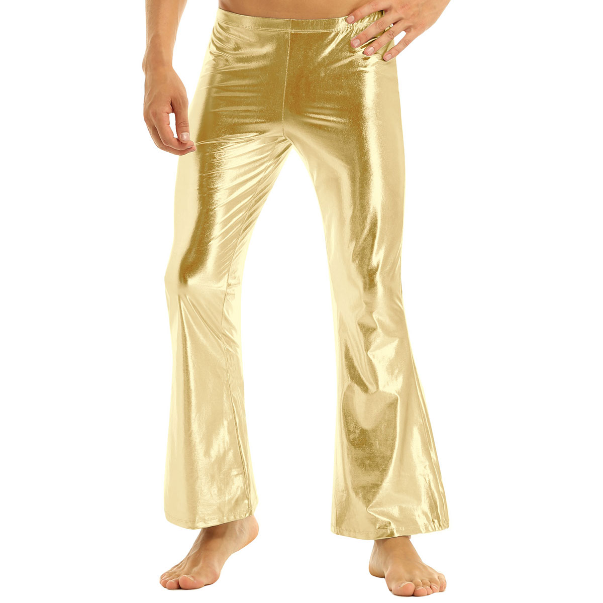 New Adult Mens Stage Performance Trousers Shiny Metallic Disco Pants with Bell Bottom Flared Long Pants Dude Costume Trousers