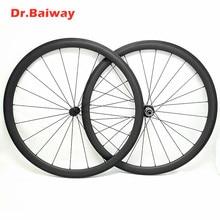 цена на 700c carbon wheelset 50*23mm clincher road bike wheels Powerway R13 100*9 130*9mm V Brake road bike wheelset 700c 1423 spokes