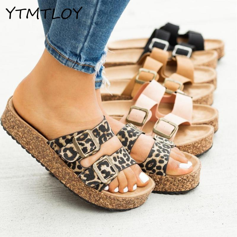 YTMTLOY Spring/summer Women Double-layer Buckle Sandals Outside Wild Beach Slippers Ladies Leisure Flip Flop Women Shoes