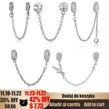 WOSTU cadena de seguridad con incrustaciones para mujer, abalorio de plata de ley 100%, Pulsera Original, brazaletes DIY, joyería