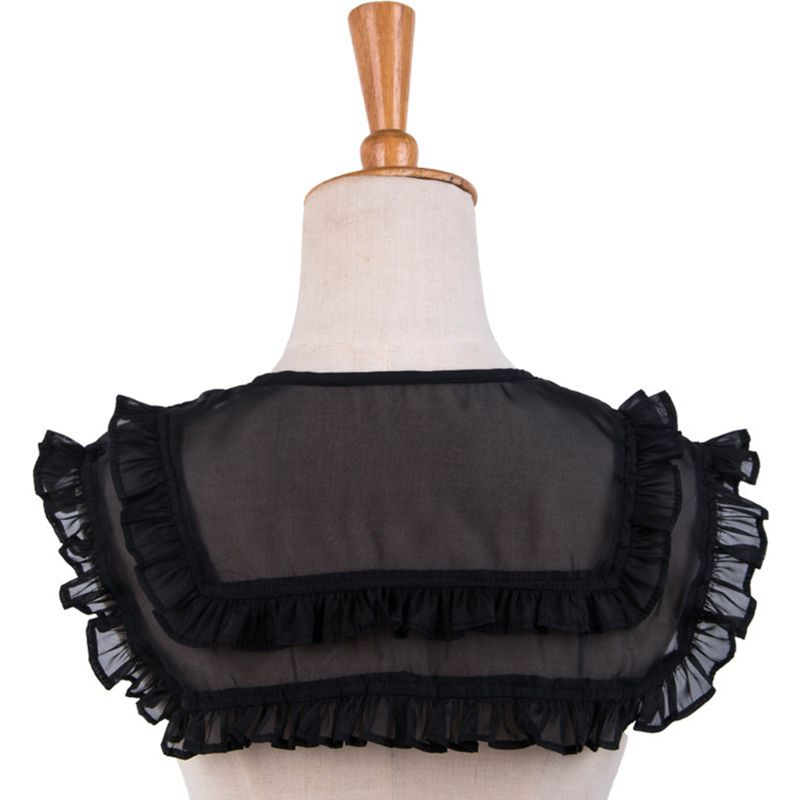 2020 Preppy Style Women Girls Doll Tiered Ruffles Fake Collar Bottoming Shirt Shawl