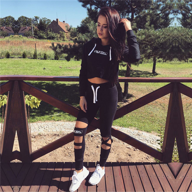 2019  Fashion 1 Set Women Black Crop Top And Pants Suit Sexy Hollow Out Letter Print Casual Cotton Tracksuit
