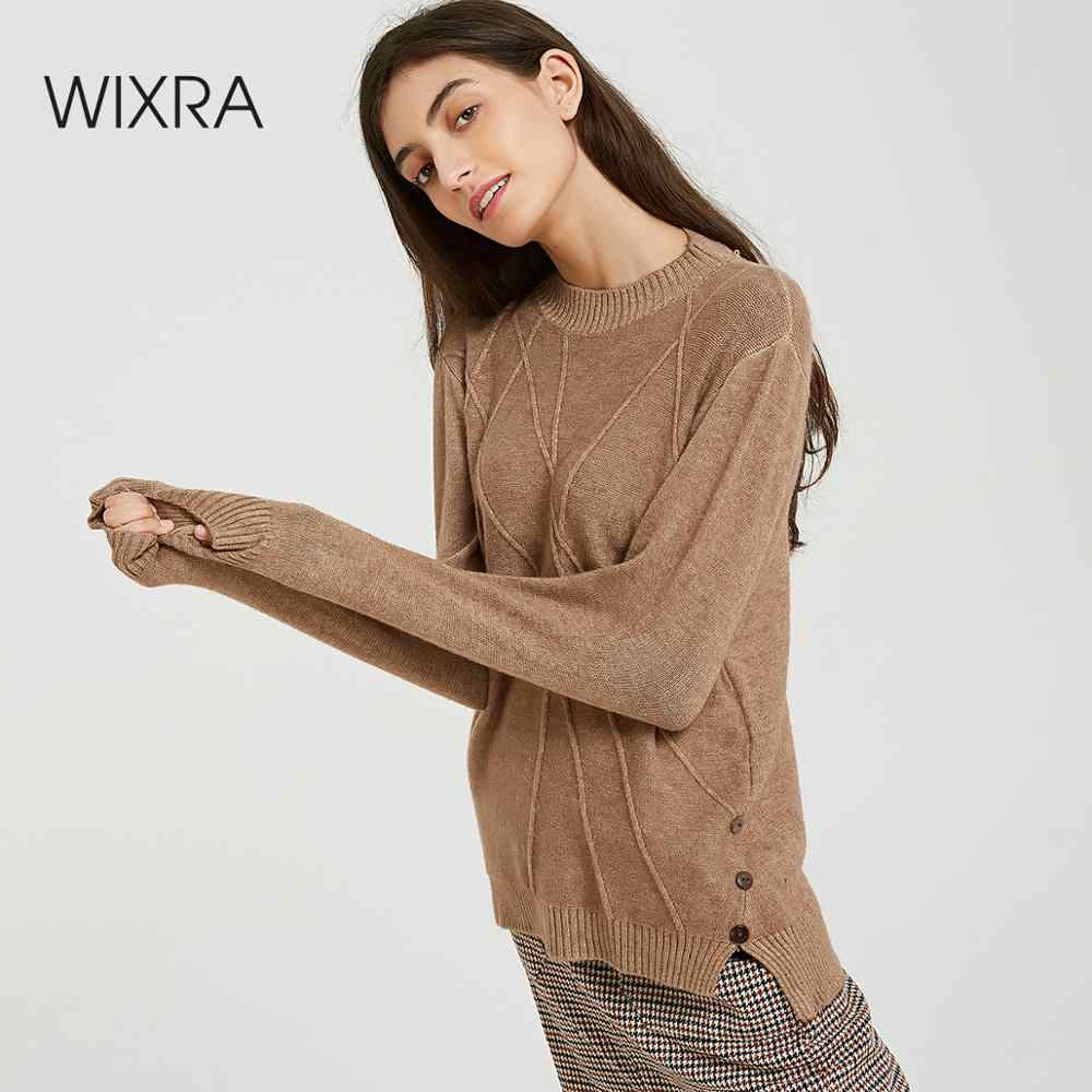 Wixra New Button Turtleneck Sweater Women Autumn Winter Solid Knitted Pullover Women Soft Jumper Sweaters Female Knit Tops