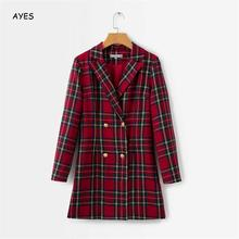 Classic Red Plaid Chic Autumn Blazer Jacket Women Streetwear Long Sleeves Winter Coat Female Casual Coats