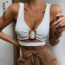 Cryptographic Tops For Women Cotton V-Neck Sleeveless Solid Tank Hollow Out Fashion Button Crop 2019 Sexy Autumn