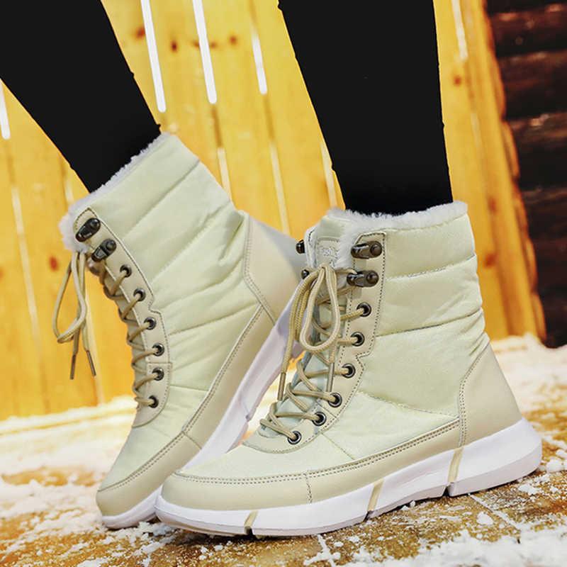 2019 kış çizmeler kadın ayakkabıları sıcak kürk peluş kar botları kadın dantel-up yarım çizmeler kış ayakkabı kadın platform botas mujer