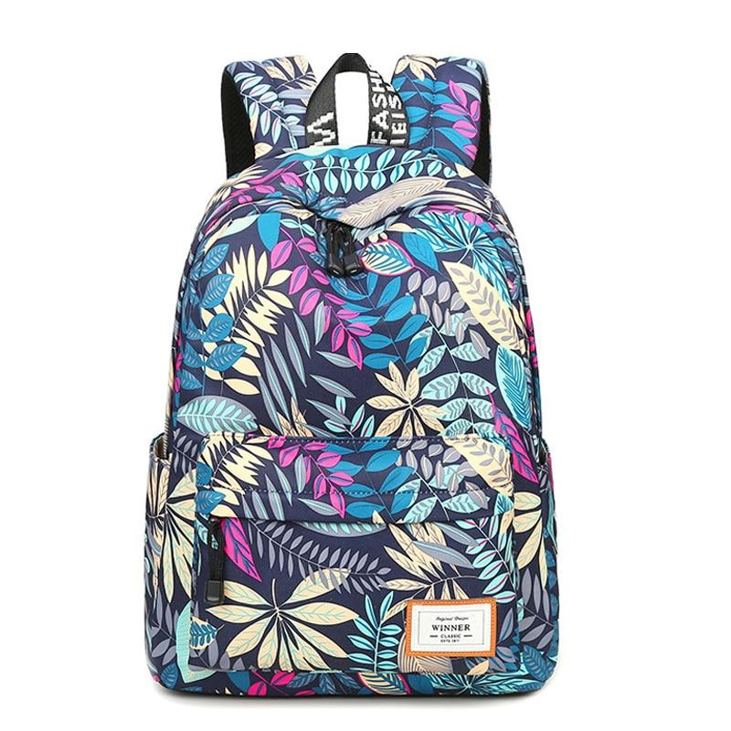 Fashion Leaves Pattern Printing Backpacks For Teenage Girls Casual Women Shoulder School Bag Travel Bags Mochilas