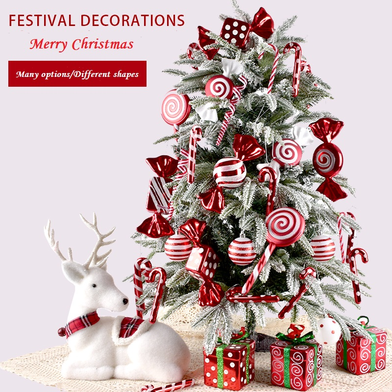 Red and white Christmas ornaments Christmas crutches series Christmas ball party decorations Christmas tree ornaments 2021 new
