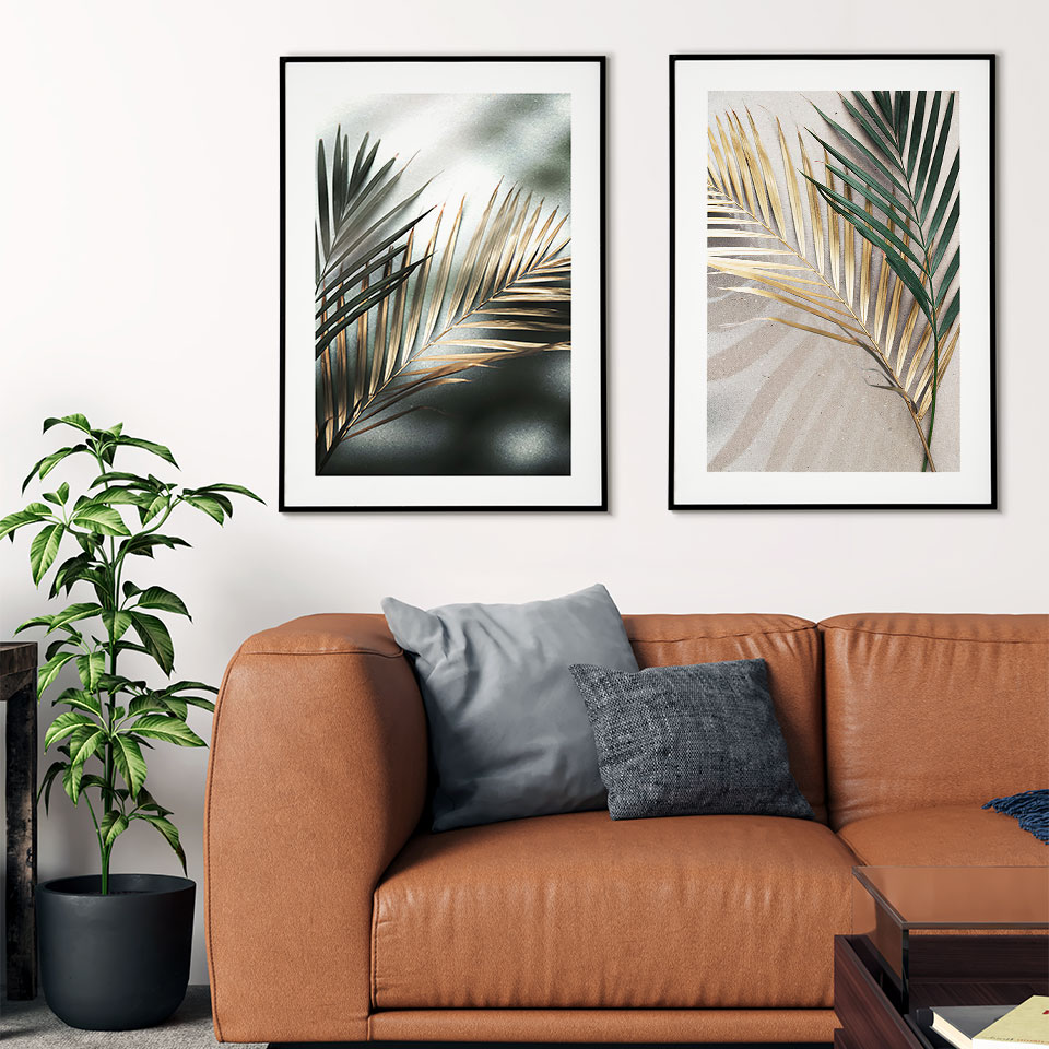 Golden Leaves Poster Nordic Canvas Painting Palm Leaf Wall Art Pictures For Living Room Modern Home Decorative Prins On The Wall