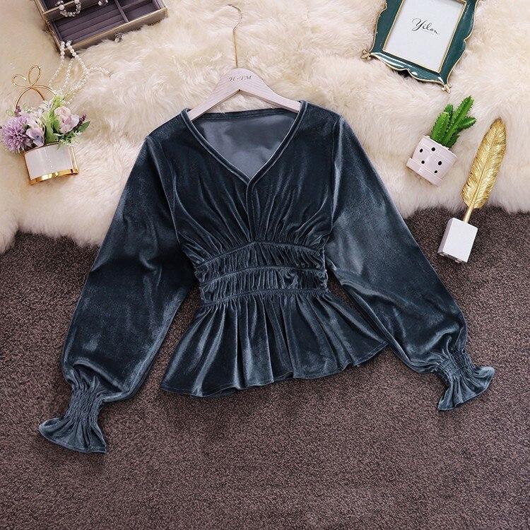 Autumn Women Velour Blouses Autumn Long Sleeve Velour Women Peplum Tops Lady Velvet Shirts Ruffles Velour Tops