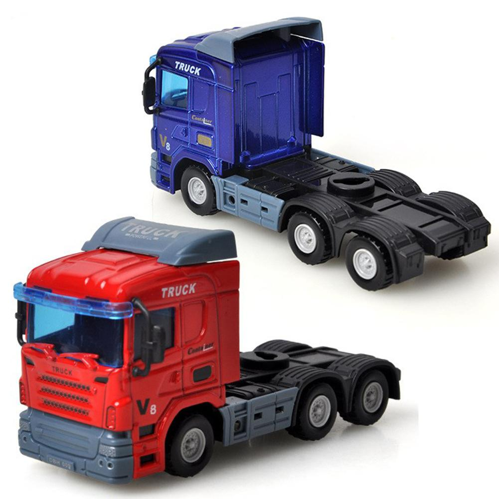 Hobbylane Inertial Container Trailer Truck Toys 1:64 Alloy Container Car Model Pull Back Car Toy For Gift Collection