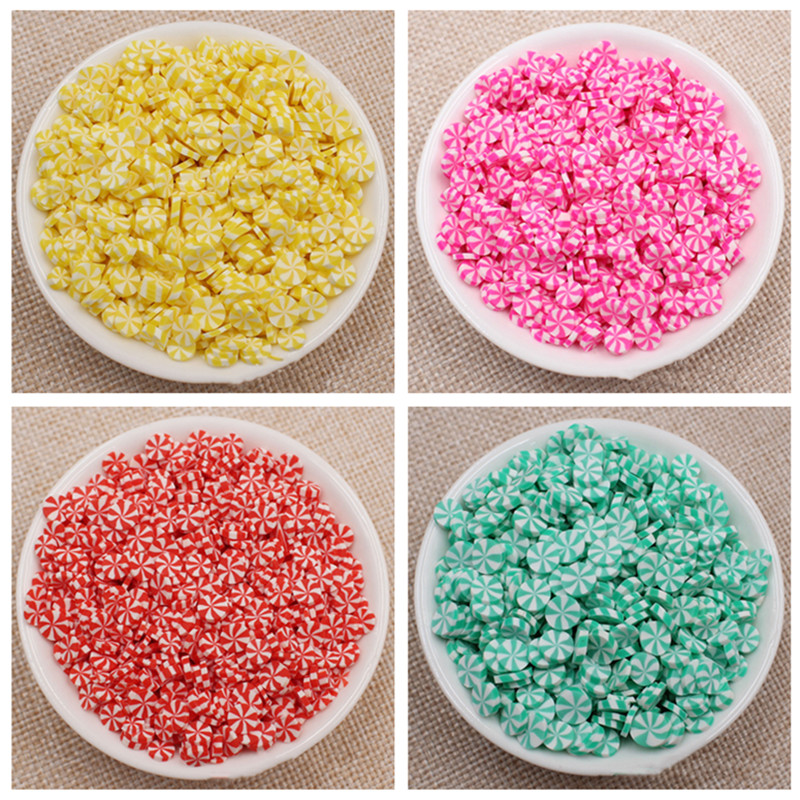 100g Round Candy Fake Cake Decoration Fimo Polymer Clay Sprinkles For Craft DIY Slime Accessories Plastic Klei Mud Particles 5mm