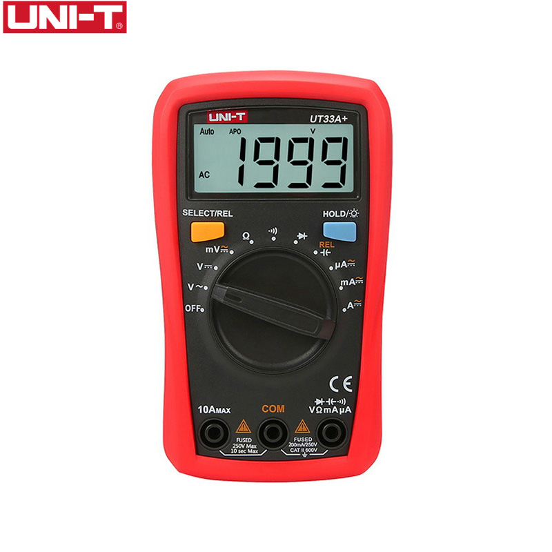 UNI T Digital Multimeter UT33A+ Auto Range Voltage Current Resistance Measure LCD AC DC +2mF Capacitance NCV Tester Backlight-in Multimeters from Tools