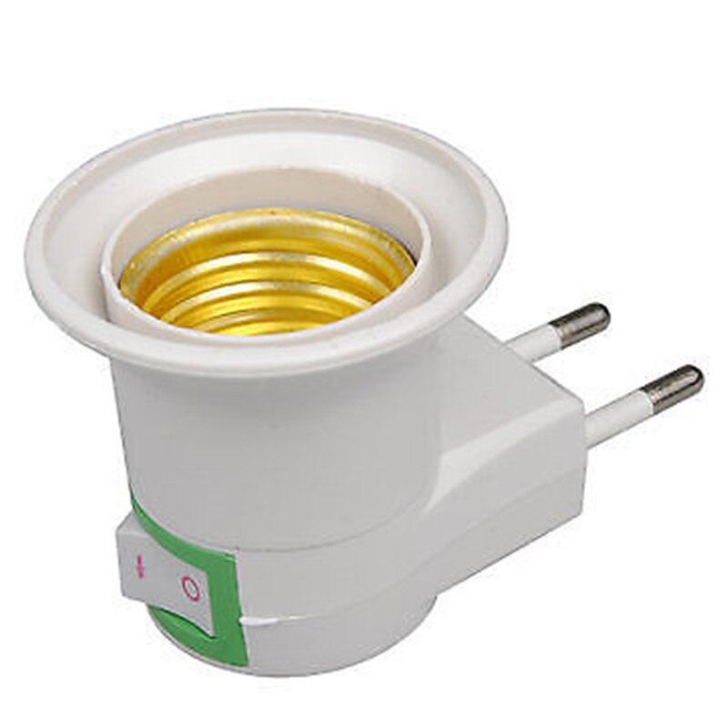 E27 Lamp Base Socket EU Plug Wall Screw Night Light Bulb Socket Holder Adapter Converter 110-240V With On-off Control Switch