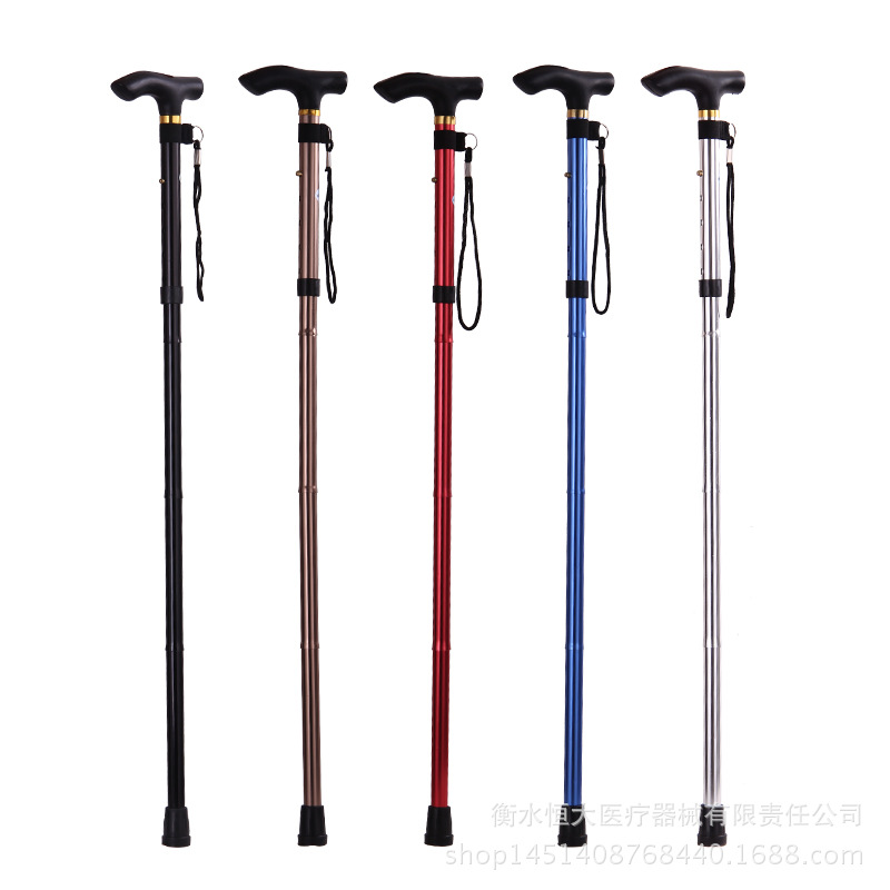 Manufacturers Direct Selling Wholesale Foldable Cane Alpenstock Portable Ultra-Light Old Man Anti-slip Wand Stick Straight Handl