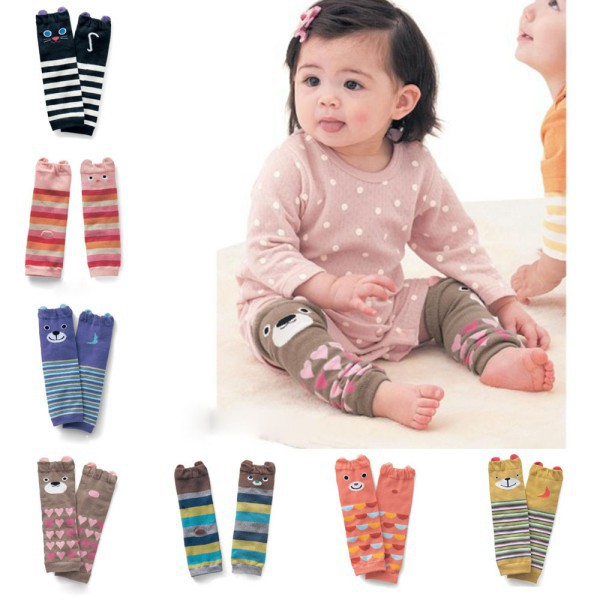Retail Wholesale Cartoon Air Conditioning Baby Leg Warmers Baby Boys Girls Toddler Knee-length Striped Leg Warmer