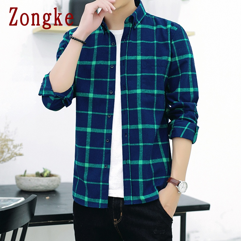 Zongke 2020 New Spring Casual Plaid Shirt Men Slim Fit Social Male Long Sleeve Shirts Men Fashion Brand Tops Plus Size M-4XL