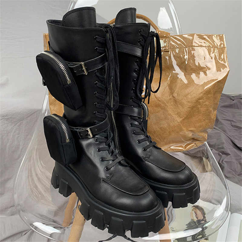 Black Pocket Military Boots Lace Up