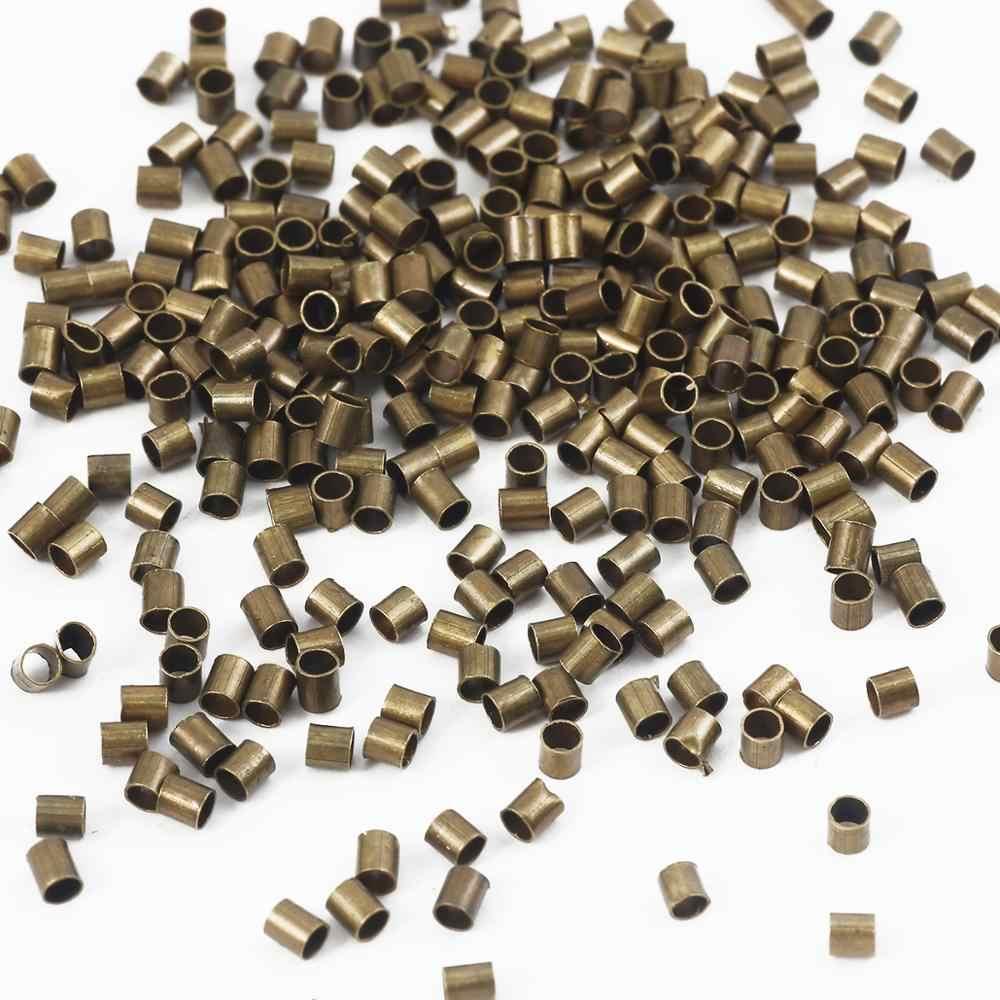 500 قطعة 1.5-2.0 مللي متر الذهب الفضة النحاس أنبوب تجعيد نهاية الخرز سدادة خزر عازل لصنع المجوهرات النتائج قلادة لوازم