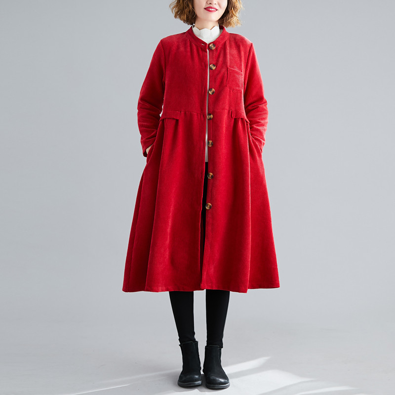 2020 Women S Clothing Spring Autumn, Red Trench Coat Women S Plus Size