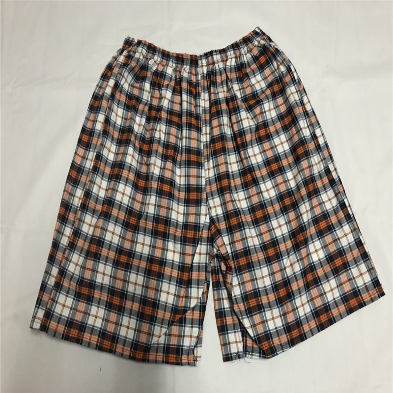 MEN'S Beach Pants Cotton Plaid Short Casual Sports Rafting Surfing Large Size Trunks Loose-Fit Booth Goods