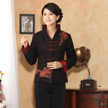 puls size black women jacket New Autumn Winter Chinese Tradition Women's