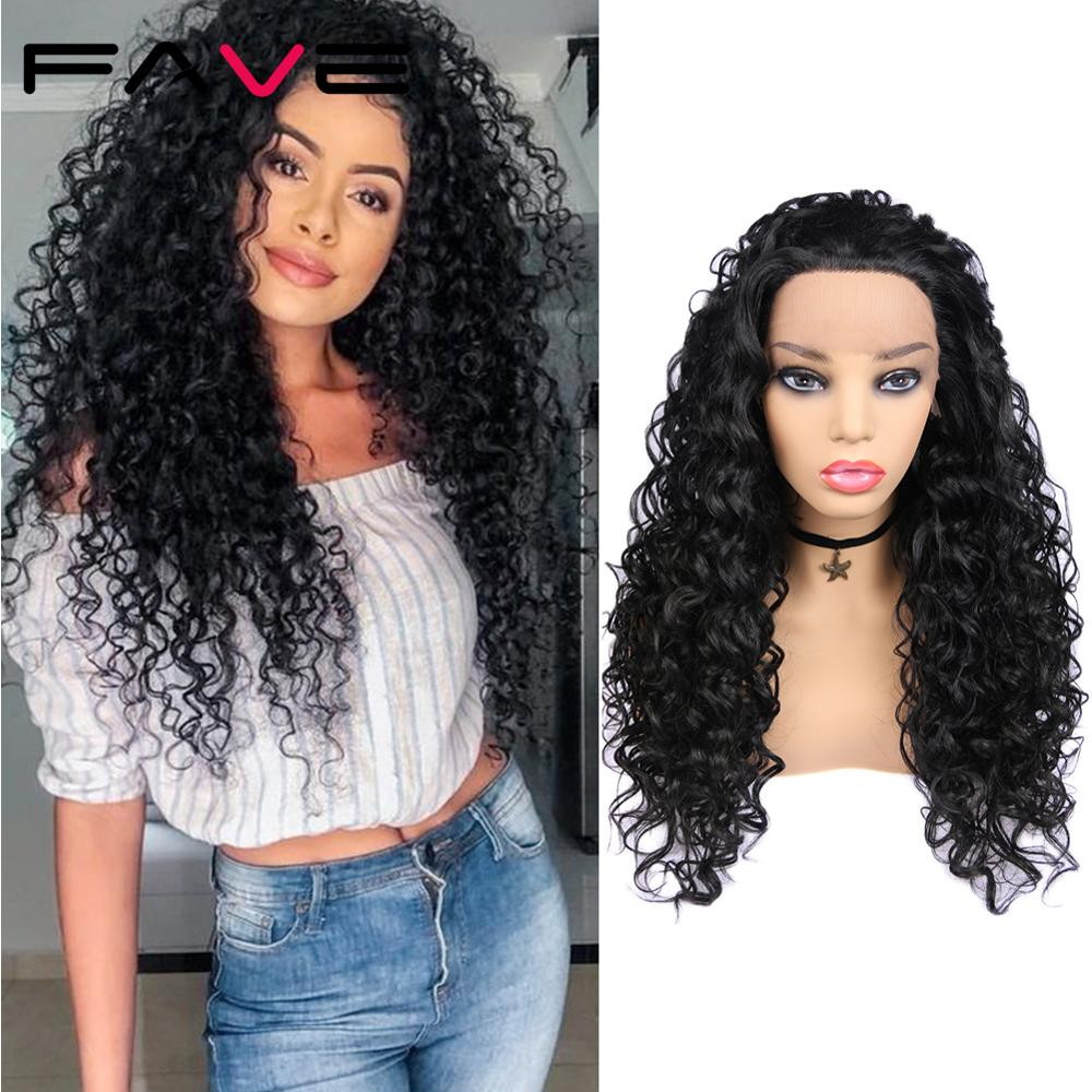 FAVE Black Lace Front 1.5*30 Long Afro Curly Heat Resistant Fiber Hair For Black Women Daily  Party African Synthetic Wigs