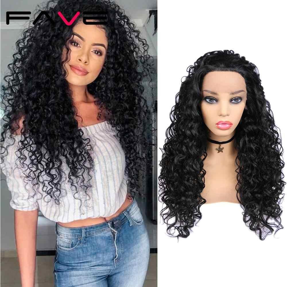 Fave preto frente do laço 1.5*30 longo afro encaracolado cabelo de fibra resistente ao calor para preto feminino diário festa perucas sintéticas africanas