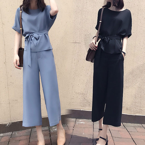 Large Size Dress Fat Mm2019 New Style Waist Thick Cover Belly By Age Summer Fashionable Chubby Sister Loose Pants Two-Piece Set