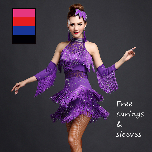 5Colors Shiny Explosion Latin Dance Costume Women Fringe Dress Latin Competition Costumes Stage Wear Latin Dancewear Salsa Dress