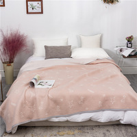 Summer Air conditioning Quilt Soft Breathable Washed Cotton Towel Blankets for Beds Sofa Bed Cover Plaid Bedspread Sheet|Throw|   -