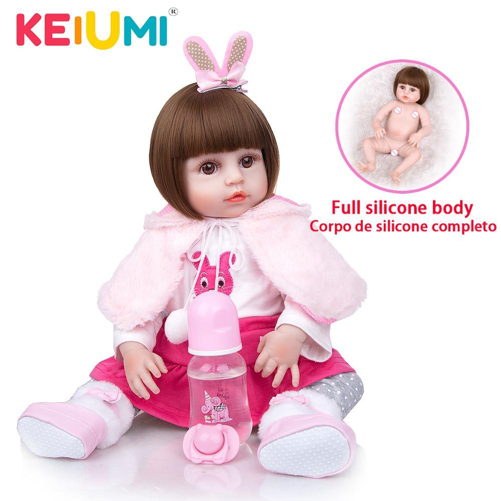 KEIUMI Drop-schiff Reborn Baby Puppen Mädchen 49 CM Volle Silikon Körper Realistische Newborn Bebe Puppe Für Kinder Geschenk schlafengehen Spielen Spielzeug