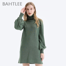 BAHTLEE Winter  Women Wool Turtleneck Pullovers Sweater Knitted Long style Jumper Ruched Puff Sleeves Loose white long sleeves jumper colorful tassel design