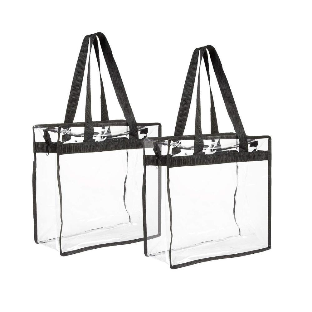 2-pack Transparent Bag - Clear Tote Bag with Zipper - Stadium Approved PVC Travel Bag