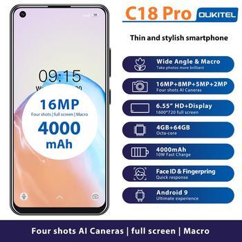 Перейти на Алиэкспресс и купить OUKITEL C18 Pro смартфон на Android 9, восемь ядер, экран 6,55 дюйма, 4 Гб + 64 ГБ