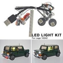Светодиодный светильник, набор для LEGO 10242, винтажный мини-автомобиль, сделай сам, светящийся, сборный, светодиодный, строительные блоки, светильник, набор игрушек, ABS, строительные блоки, товары