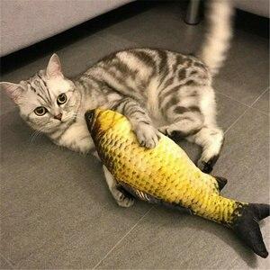 Image 4 - ค่าเฉลี่ยปลาของเล่น Catnip สำหรับแมวที่สมจริงตุ๊กตาตุ๊กตาหมอนเคี้ยวกัดของเล่นแมวปลา Flop Cat Wagging ปลาของเล่น Catnip