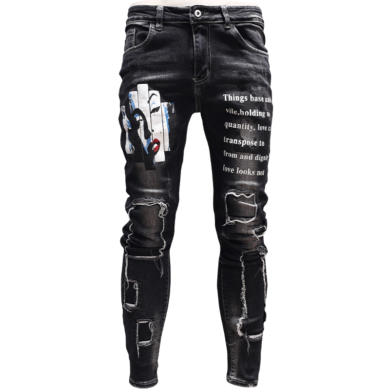 Jeans Streetwear Patch Print-Pants Skinny Ripped Cowboys Black Mens Fashion for PSMJ87 title=