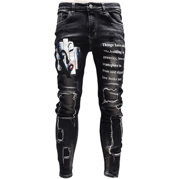 цена на Fashion Mens Skinny Ripped Patch Jeans Streetwear Black Jean Print Pants for Cowboys Men PSMJ87