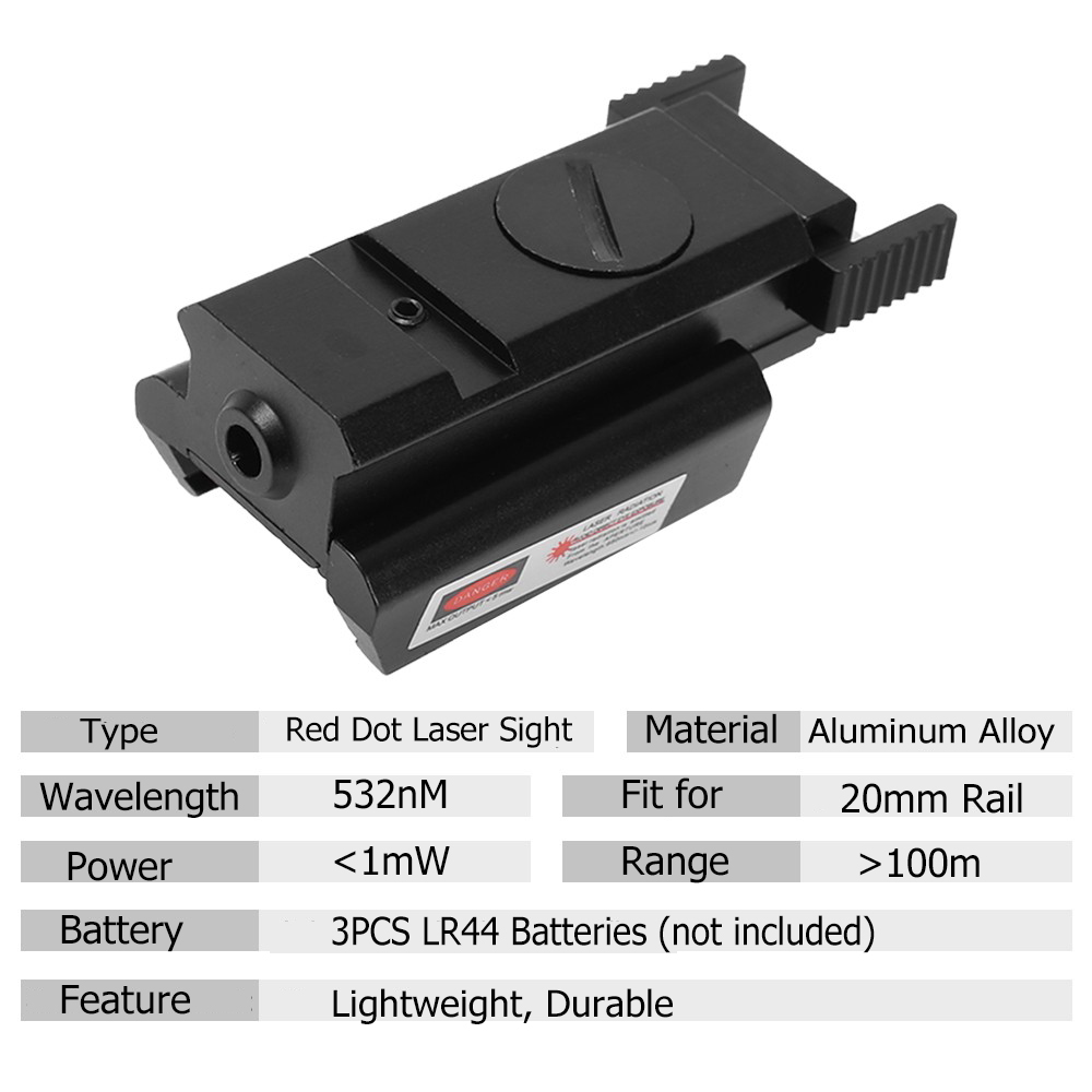 Tactical Red Dot Sight with 20mm Rail Pistol Weaver Airsoft Shockproof Rifle Red Laser Scope Hunting  Handgun Glock Laser-1