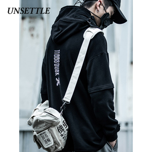 Image 2 - UNSETTLE Fish Mouth Japanese Harajuku Embroidery Tactics Streetwear Hoodies Hip Hop men pullover hoodie Casual Sweatshirts Tops