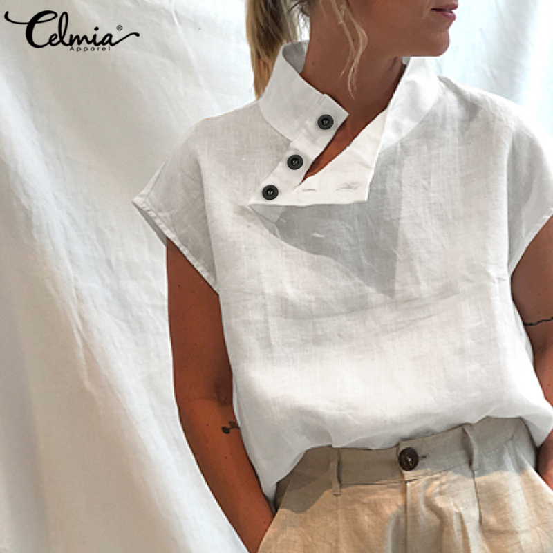Celmia Stylish Tunic Tops Plus Size Women Short Sleeve Summer Blouses Buttons Solid Cotton Linen Tops Casual Loose Blusas Femme