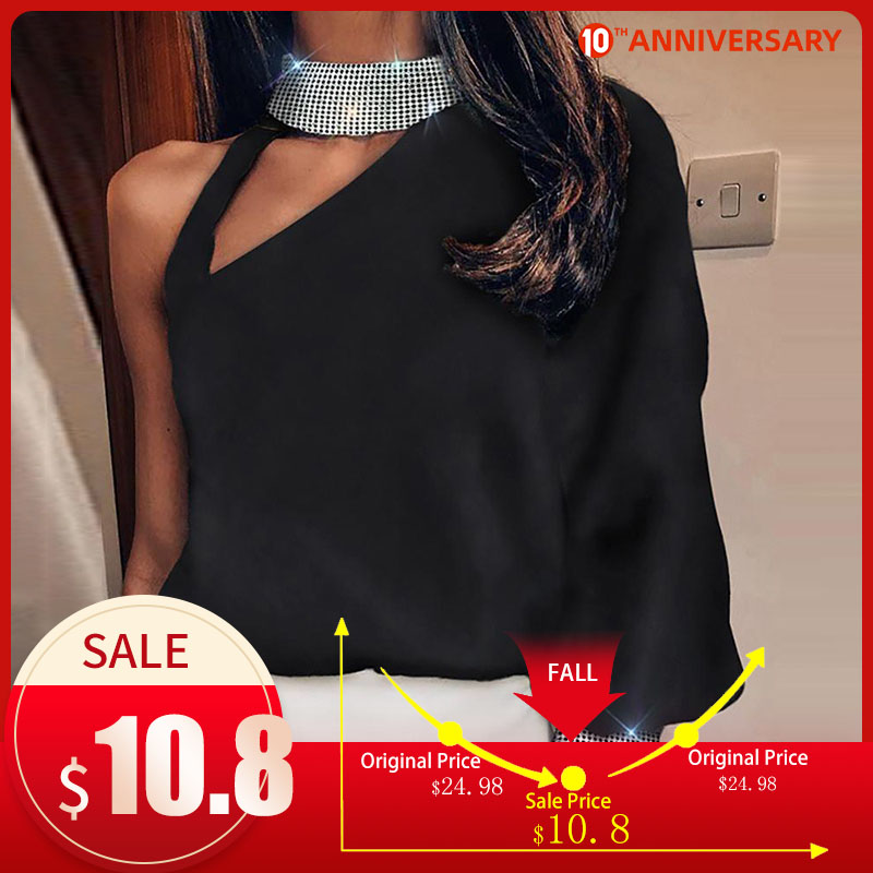 Off Shoulder Long Batwing Sleeve Blouse Female Glitter Sequined Women's Tops And Blouses 2020 Fashion Casual Feminine Shirts
