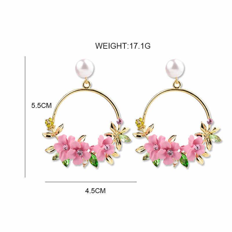 Modny śliczny różowy kwiat kolczyki dla kobiet biżuteria dziewczęca kobieta Rhinestone złoty metal okrągły koło spadek kolczyki prezenty Brincos