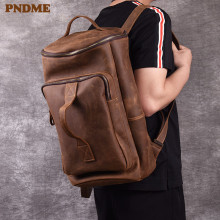 PNDME retro crazy horse cowhide backpack for men large capacity genuine leather bagpack designer travel laptop bagpack for teens
